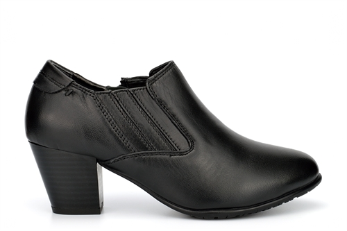 Comfort Plus Womens Lucia Leather Ankle Boots With Medium Block Heel Black