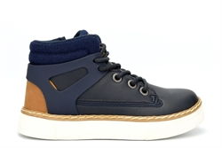 Boys Side Zip High Top Trainers Navy