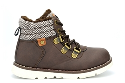 Boys Herringbone Zip Up And Lace Fastening Ankle Boots Brown