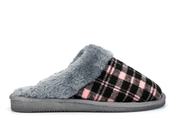 Sleepers Womens Mia Tartan Mule Slippers With Faux Fur Lining And Insole Black/Pink/Grey