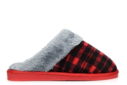 Sleepers Womens Mia Tartan Mule Slippers With Faux Fur Lining And Insole Red/Grey