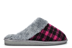 Sleepers Womens Mia Tartan Mule Slippers With Faux Fur Lining And Insole Black/Purple/Grey