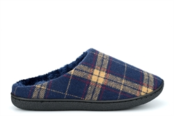 Zedzzz Mens Fabian Check Mule Slippers With Velour Lining And Insole Navy