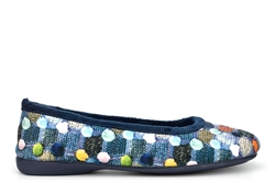 Sleepers Womens Samira Ballerina Slippers With Memory Foam Insole And Rubber Sole Blue