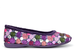 Sleepers Womens Samira Ballerina Slippers With Memory Foam Insole And Rubber Sole Purple