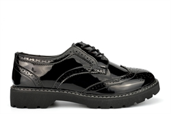 Boulevard Womens Patent Platform Brogue Shoes With Low Heel Black