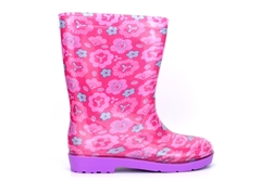 Girls Lola Flower Print Waterproof Wellington Boots With Textile Lining Pink/Purple
