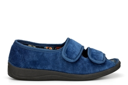 Four Seasons Womens Wide Fit Slippers With Memory Foam Insole Navy