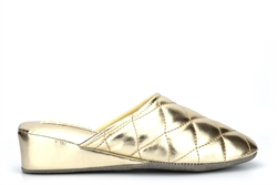 Dunlop Womens Sybil Lightweight Quilted Mule Slippers With Low Wedge Heel Gold