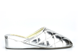 Dunlop Womens Sybil Lightweight Quilted Mule Slippers With Low Wedge Heel Silver