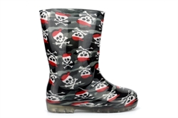 Boys Billy Bones Waterproof Wellington Boots With Textile Lining Black