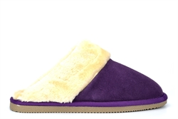 Mokkers Womens Kelsei Suede Mule Slippers With Faux Fur Lining And Rubber Sole Purple