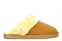 Mokkers Womens Kelsei Suede Mule Slippers With Faux Fur Lining And Rubber Sole Sand