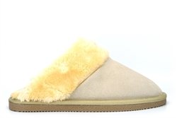 Mokkers Womens Kelsei Suede Mule Slippers With Faux Fur Lining And Rubber Sole Stone
