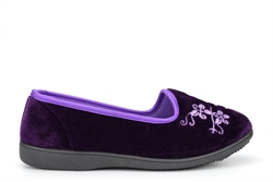 Zedzzz Womens Jenny Embroidered Slippers Purple