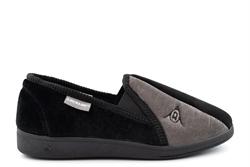 Dunlop Mens Winston Slip On Memory Foam Washable Carpet Slippers Black/Grey