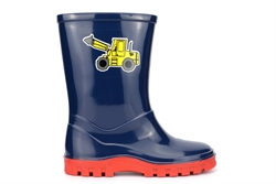 StormWells Boys Puddle Waterproof Wellington Boots With Textile Lining Navy Blue