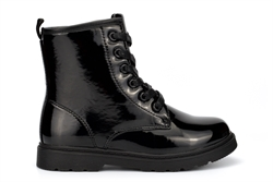 Superstar Girls Stomper Military Boots With Side Zip Fastening Patent Black