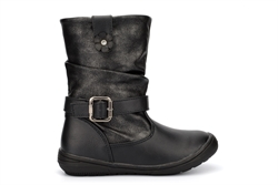 Chatterbox Girls Julie Calf Boots With Buckle And Flower Detail Black