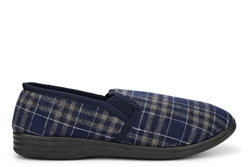 Mens Tommy Check Textile Twin Gusset Slip On Slippers Navy Blue