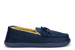 Response Mens Ralph Ultra Light Faux Fur Lined Moccasin Lace Slippers Navy