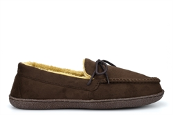 Response Mens Ralph Ultra Light Faux Fur Lined Moccasin Lace Slippers Brown
