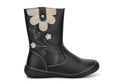 Chatterbox Girls Leni Calf Boots With Stitching And Flower Detail Black