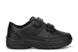 Osaga Boys Touch Fastening Coated Leather School Shoes Black
