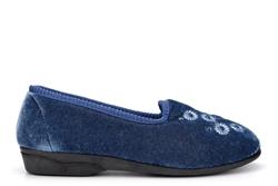 Zedzzz Womens Cathy Embroidered Slip On Slipper Blueberry Blue
