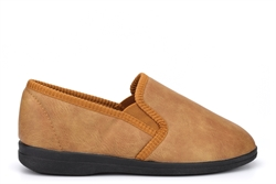 Sleepers Mens Eric Twin Gusset Slip On Slippers Tan