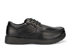 US Brass Boys Stubby Boat Shoes With Rugged Sole And Lace Up Fastening Black