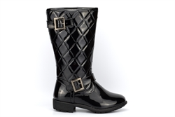 Boulevard Girls High Leg Quilted Patent Fashion Boots Black