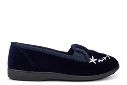 Zedzzz Womens Gail Twin Gusset Slip On Embroidered Slippers Navy