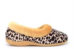 Sleepers Womens Penny Memory Foam Collar Slippers With Ocelot Upper