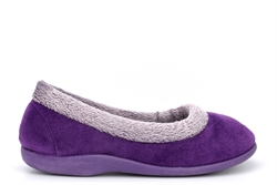Sleepers Womens Julia Memory Foam Collar Slippers Purple