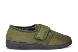 Sleepers Mens Tom Touch Fastening Slippers With Extra Comfort Memory Foam Insole Khaki