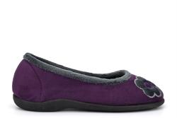Sleepers Womens June Flower Ballerina Memory Foam Slippers With Rubber Sole Purple
