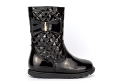 Girls Bow Detail Calf Boots With Quilted Patent Upper Black