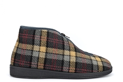Sleepers Mens Jed II Thermal Zip Bootee Slippers With Warm Fleecy Lining And Outdoor Sole Grey