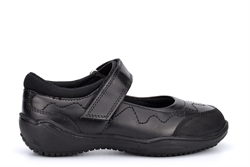 Roamers Girls Touch Fastening Leather School Shoes With Rubber Toe Guard Black
