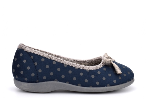 Sleepers Womens Louise Polka Dot Memory Foam Bow Slippers Navy