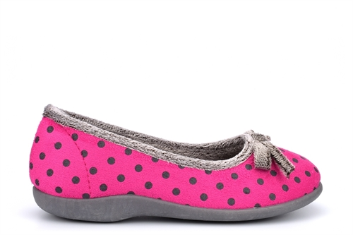 Sleepers Womens Louise Polka Dot Memory Foam Bow Slippers Pink
