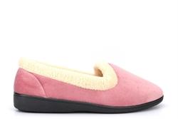 Snug Womens Fleece Collar Slip On Slippers Rose Pink