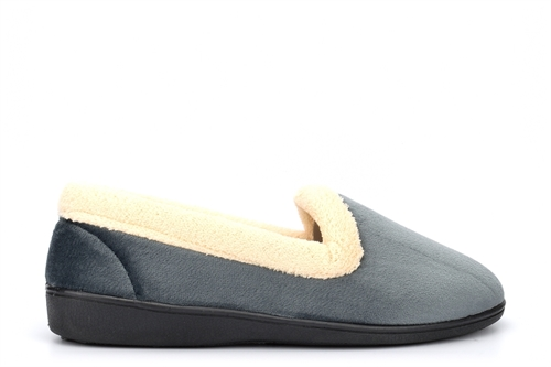 Snug Womens Fleece Collar Slip On Slippers Grey