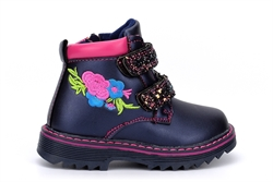 Girls Glitter Touch Straps and Side Zip Fastening Embroidered Ankle Boots Navy/Fuchsia