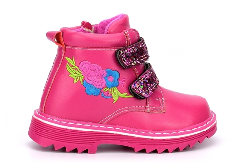 Girls Glitter Touch Straps and Side Zip Fastening Embroidered Ankle Boots Pink/Fuchsia
