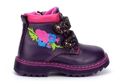 Girls Glitter Touch Straps and Side Zip Fastening Embroidered Ankle Boots Purple/Fuchsia