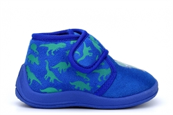 Boys Roarr Dinosaur Touch Fastening Slippers Blue