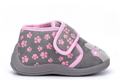 Girls Kitty Touch Fastening Slippers With Paw Print Upper Grey/Pink