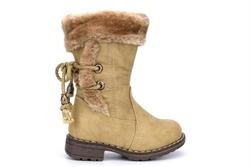 Girls Faux Fur Collar Mid Calf Cowboy Boots Beige